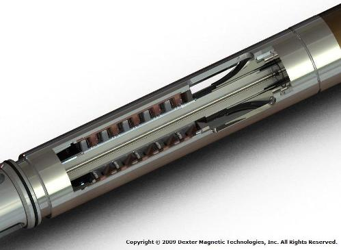 Figure 2: Cross-section of multi-turbine blade section of downhole generator tool. Image courtesy of Dexter Magnetic Technologies (2009).